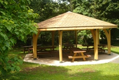 the pavillion in the picnic area of the park